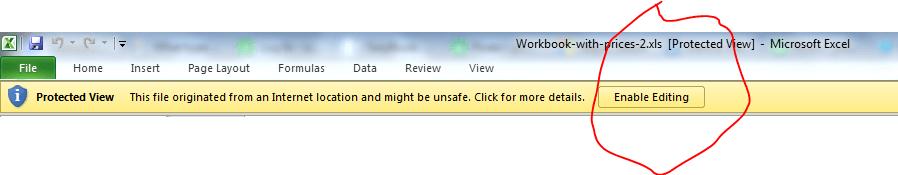 screenshot showing 'enable editing' button