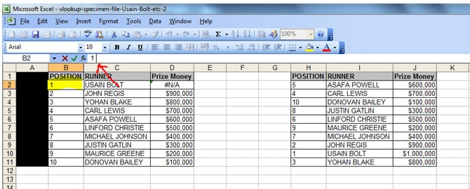 Two tables. Cell B2 in the table on the left hand side has a dash at the end of the number 1 which causes the vlookup to fail and have an #N/A error.