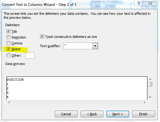 Text to Columns Wizard