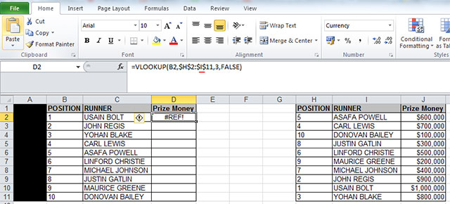 vlookup #REF error because table array is incorrect