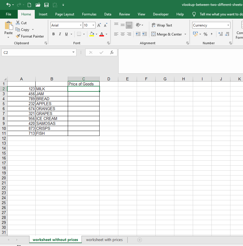 Excel worksheet without prices - vlookup between two sheets example
